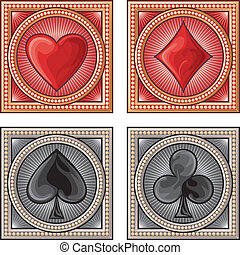 decorative card symbols card suits, playing card set symbols...