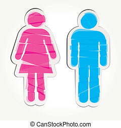 Colored male and female sign