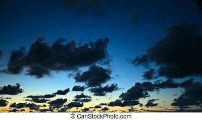 Sky at sunset - timelapse - Cloudy sky at sunset - timelapse...