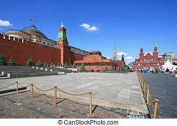 Red Square Lenin mausoleum and Moscow Kremlin