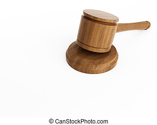 Varnished wooden gavel isolated on white