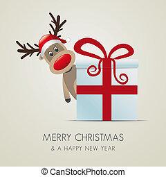 reindeer behind gift box - reindeer behind christmas gift...