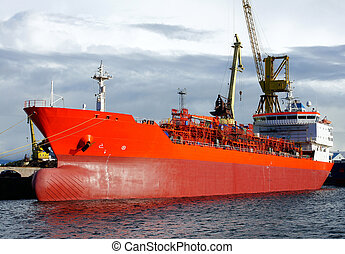 Tanker - The tanker is moored in the port