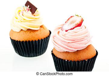 fresa, vainilla, Cupcake