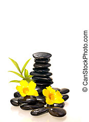 Stack of black zen stones with a bamboo plant and yellow...