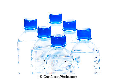 Six bottles of water close up