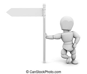 Person at signpost - 3D render of someone leaning on a...