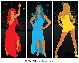 Three Fashion Poses - Beautiful women in various fashion...