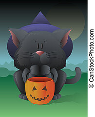 Trick or Treating Cat - Illustration of a cat wearing a...