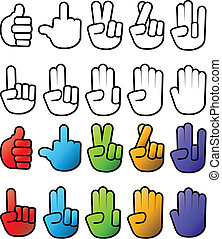 Hand Icons - Various Hand Sign Gesture Graphic Elements