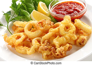 fried calamari - fried squid with marinara sauce