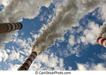 Big pollution in coal power station - Poland - View on big...