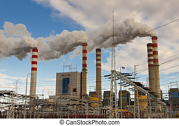 Coal power Station in Poland, Europe. - View on coal power...