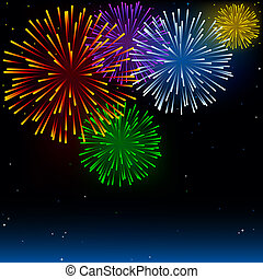 Fireworks - Holiday Background Illustration, Vector