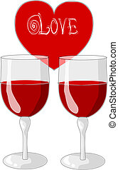 One heart and two glasses of wine - valentines day.