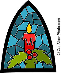 Candle on blue stained-glass window for christmas time.