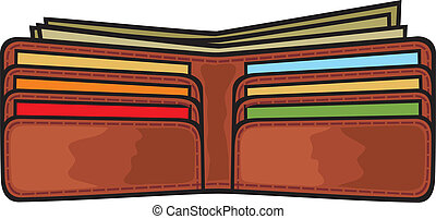 open wallet - vector illustration of open wallet with...