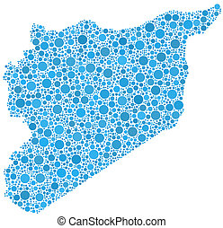 Map of Syria - middle east - in a mosaic of blue circles