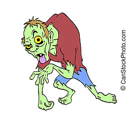 Zombie Halloween Monster - hand drawn cartoon of a creepy...