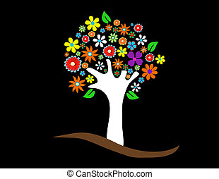 Colorful tree with flowers vector illustration