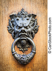 Devil Head Door Knocker - Door knoker on an old wodden door...