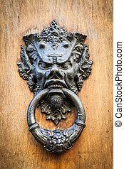 Diablo, cabeza, puerta, aldaba