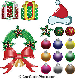 christmas ornaments vector - Vector illustration christmas...