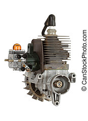 Gasoline-fueled internal combustion engine, isolated on...