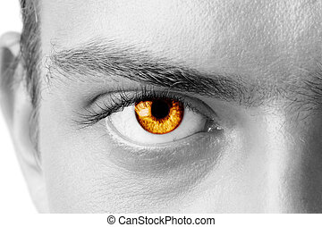 Amber mans eye - Macro shot of amber mans eye, black and...