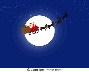 Santa Claus and his sleigh - Silhouette illustration of...