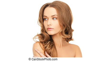 beautiful woman with long hair - bright picture of beautiful...