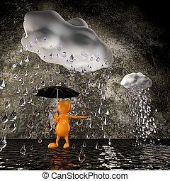 3d people rain with big raindrops