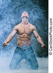 músculo, excitado, pelado, jovem, CÙte, homem