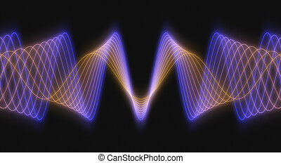 3D Audio Waves - Rendered Multi-Colored 3D Audio Waveforms...