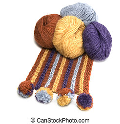 Yarn Balls and Scarf Made From Them - Yarn Balls and the...