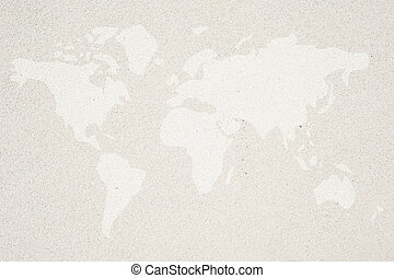 World map icon on sand background and textured