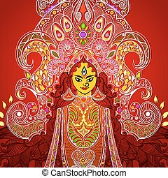 Durga Puja - illustration of colorful Goddess Durga against...