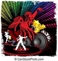Disco Jockey playing Music - illustration of disco jockey...