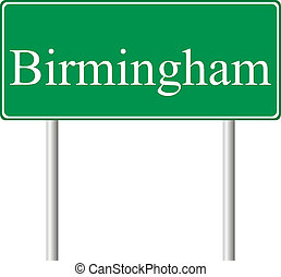 Birmingham green road sign isolated on white background