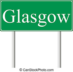 Glasgow green road sign isolated on white background