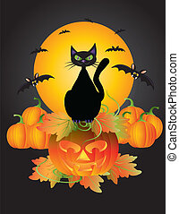 Halloween Black Cat On Carved Pumpkin Illustration -...