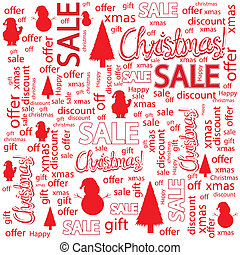 Christmas sales background with tree, Santa Claus and...