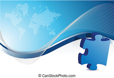 Puzzle piece business background with waves illustration