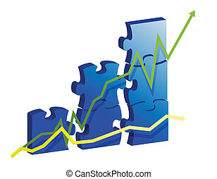 Business graph created by puzzle pieces.