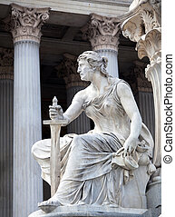 Athena Fountain in Vienna - A female statue representing the...