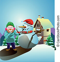 guy with snowman vector