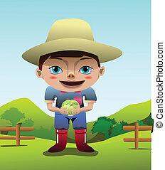 clip art of a cute kid farmer