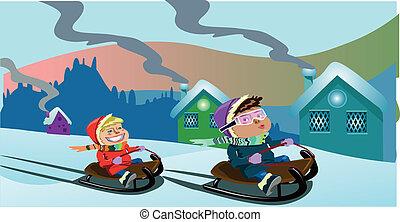 kids on sledge christmas clip art
