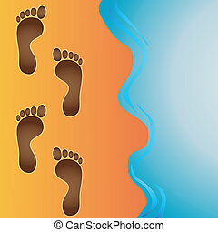 footprints in sand vector - Vector footprints in beach sand