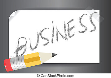 word business on a post it vector